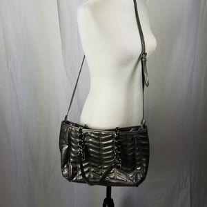 Zara Basic Quilted Silver Crossbody Purse Handbag